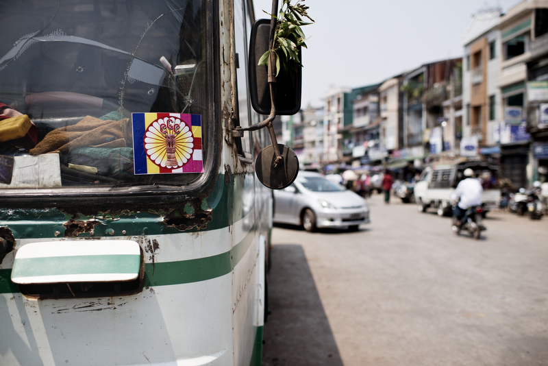 969 stickers displayed in a local bus in downtown Moulmien. Photo by Vincenzo Floramo.