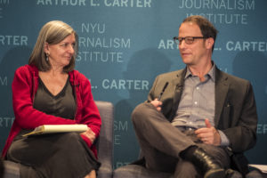 Ann Cooper and George Packer in conversation at 'Information on Trial,' at NYU's Journalism Institute. May 3, 2013. Photo by Steve Latimer.