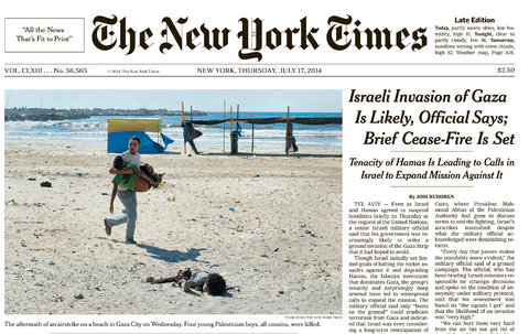 The July 17, 2014 cover of the New York Times. Photo by Tyler Hicks for the New York Times.